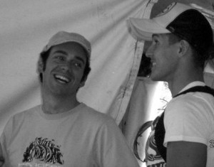 Backstage at our first gig together, mid-2008.
