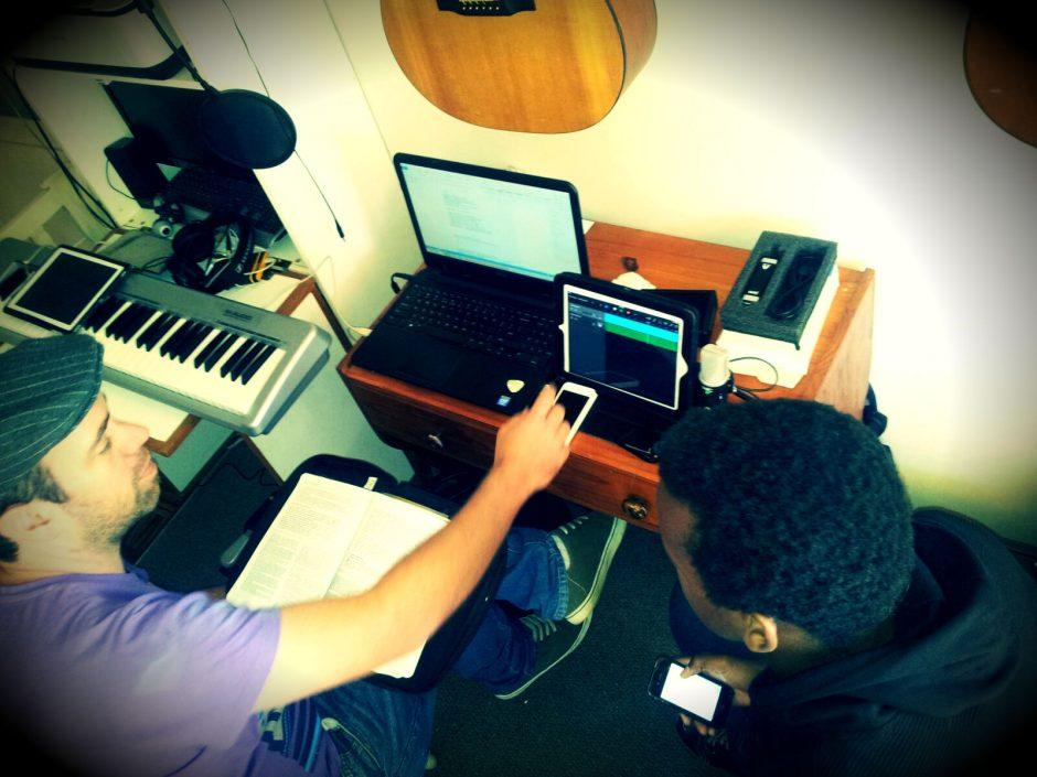 Ryan and Sandile composing lyrics.
